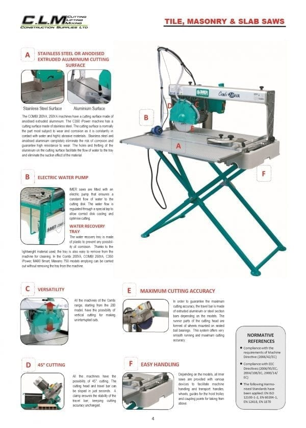 Tile, Masonry & Slab saws intro page Tile Saw