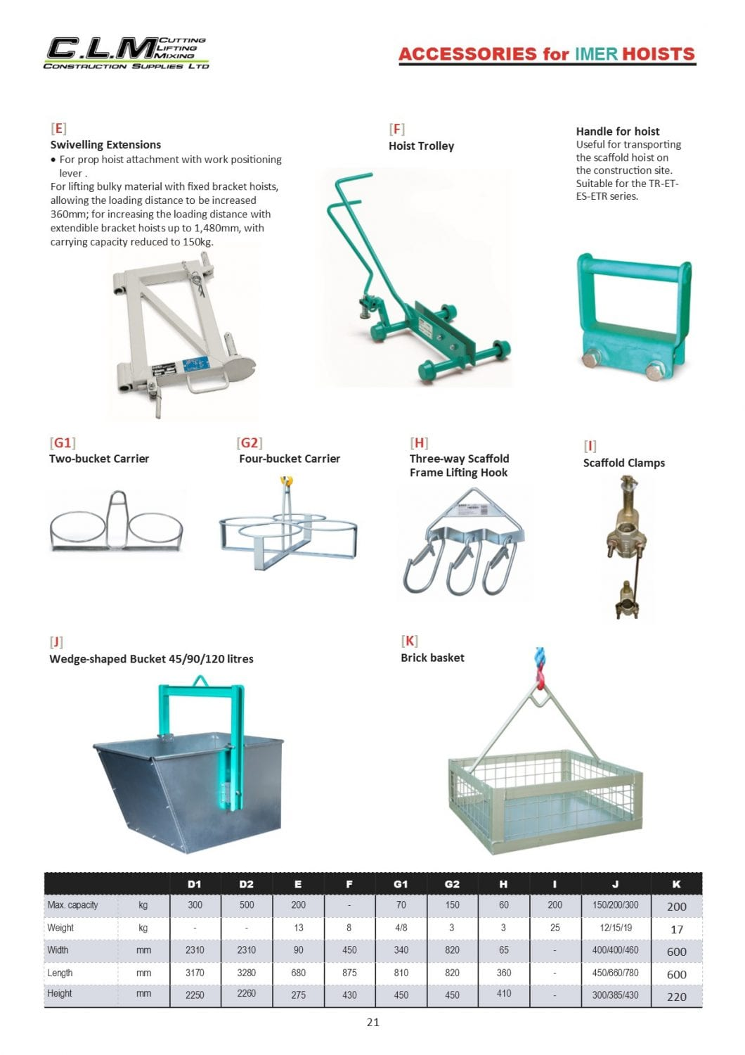 PAGE 21 Accessories for IMER Hoists
