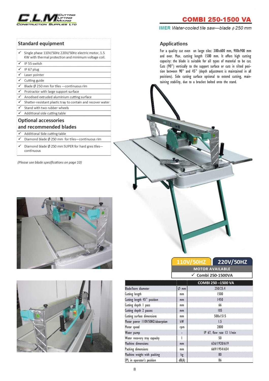 page 8 Combi 250-1500 VA Tile Saw